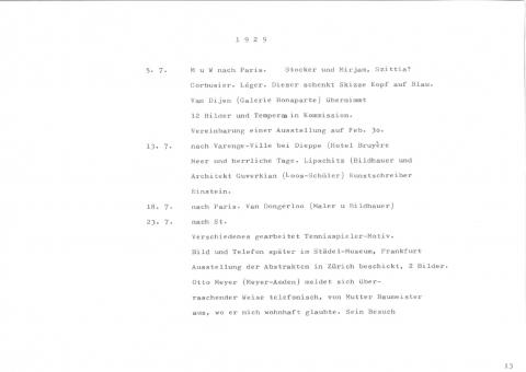 Willi Baumeister: Die Tagebücher-Transkriptionen