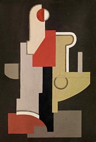 Willi Baumeister: Abstraktion (Konstruktion Rot-Oliv I) (1923)
