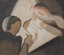 Willi Baumeister: Lesende unter der Lampe (1914)