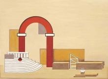 """Willi Baumeister:  Entwurf für ein Bühnenbild zu """"Ariodante"""" (1926)"""