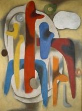 Willi Baumeister:  Figuren auf gelbem Grund (1937)