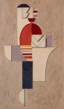 Willi Baumeister: Figur mit Streifen auf Rosa III (1920)