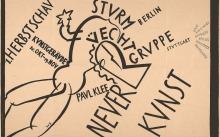 Willi Baumeister: Plakat zur »1. Herbstschau Neuer Kunst: Sturm Berlin Üecht-Gruppe Stuttgart, Paul Klee« (1919)