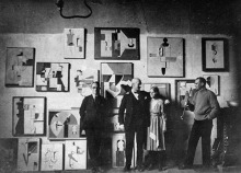 Im Atelier: Willi Baumeister (rechts) mit Freunden in seinem Atelier, 1921